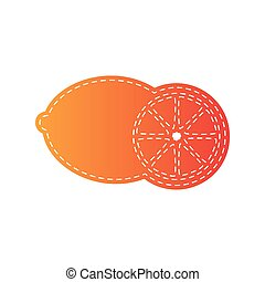 Fruits lemon sign. Orange applique isolated.