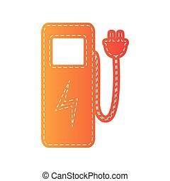 Electric car charging station sign Orange applique isolated...