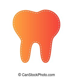 Tooth sign illustration. Orange applique isolated.
