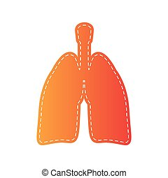 Human organs Lungs sign. Orange applique isolated.