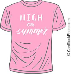 High on summer. Brush hand lettering. Handwritten words on a...