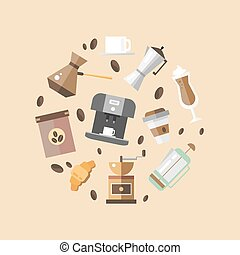Set of coffee devices for coffee shop in flat style. Coffee icons - vector illustration. Devices for making coffee.