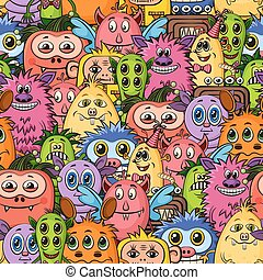 Cartoon Monsters Seamless - Seamless Background for your...