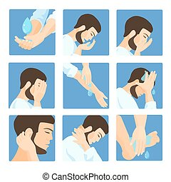 Muslim ablution, purification guide Step by step position...