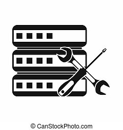 Database with screwdriver and spanner icon in simple style...