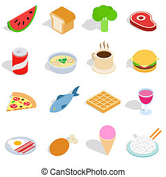 Food icons set, isometric 3d style - Food icons set in...