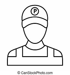 Parking attendant icon, outline style
