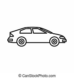 Car icon, outline style - Car icon in outline style isolated...