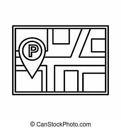 mapa, con, coche, estacionamiento, indicador, icono,...