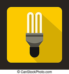 Fluorescence lamp icon in flat style on a yellow background