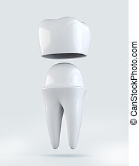 3D illustration of Crown tooth on white background - 3D...