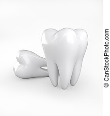 3D illustration of teeth on white background.