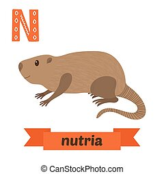 Nutria N letter Cute children animal alphabet in vector...