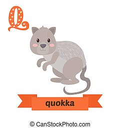 Quokka. Q letter. Cute children animal alphabet in vector....