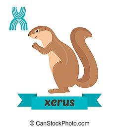 Xerus. X letter. Cute children animal alphabet in vector....