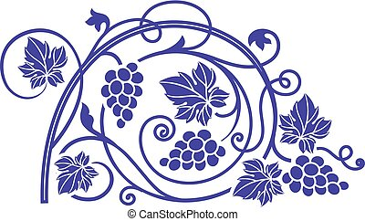 Wine theme design element with grape branches.