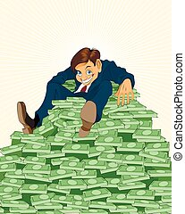 Lucky businessman with money