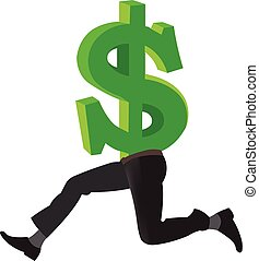 Dollar with legs running - American currency dollar symbol...