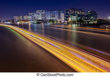 long exposure photography of siriraj hostipal and lighting...