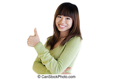 Thumbs up - Young Asian female giving thumbs up sign