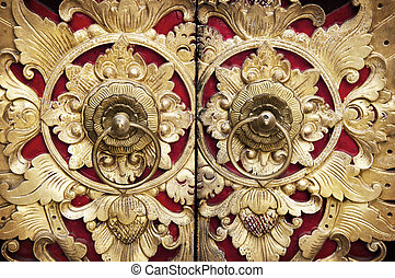 Wood Carving Door - Ornate Entrance Door To Temple In Bali