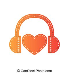 Headphones with heart. Orange applique isolated.