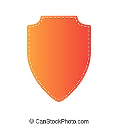 Shield sign illustration. Orange applique isolated.