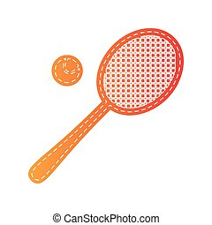 Tennis racquet sign. Orange applique isolated.