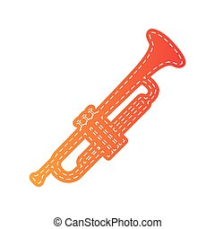 Musical instrument Trumpet sign Orange applique isolated