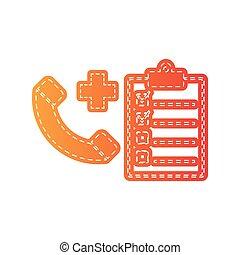 Medical consultation sign. Orange applique isolated.