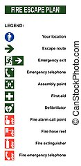 Set of symbols for fire escape evacuation plans. Legend with...