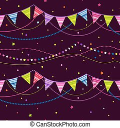 Party pennant bunting. party seamless background - Cheerful...