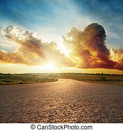 skyn, asfalt,  över, dramatisk, solnedgång, väg