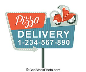 Retro night sign with an arrow. Billboard in retro style with lights.  Delivery pizza on red moped. Isolated vector flat illustration on white background. For banner, poster, presentation