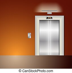 Open and Closed Modern Metal Elevator Doors. Hall Interior in orange Colors
