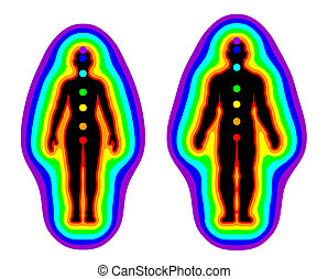 Aura and chakras on white background - illustration -...