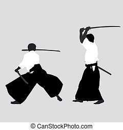 Men silhouettes practicing Aikido
