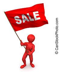 Men with flag sale. 3d