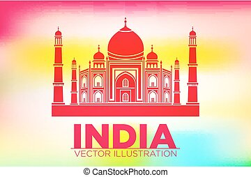 Stencil of the Taj Mahal on a sunset background. vector -...