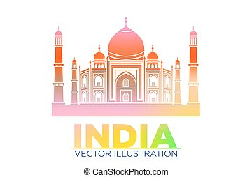 Taj Mahal vector symbol design red color polygonal mosaic...