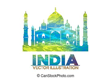 Retro World Wonder of Taj Mahal Palace in India Vector...