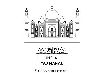 India City Line Taj Mahal india Typographic Design vector...
