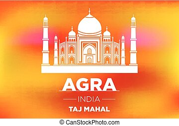 sunrise agra Taj Mahal india vector orange background art