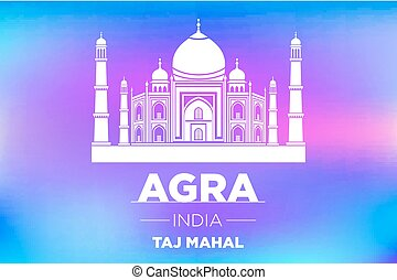 agra Taj Mahal india vector blue background art