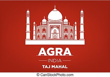 agra Taj Mahal india vector red background art