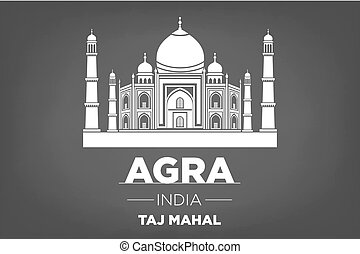 Stencil of the Taj Mahal on a gray background vector art