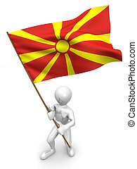 Men with flag. Macedonia