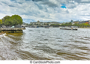 Waterloo Bridge over Thames river, London, England, United...