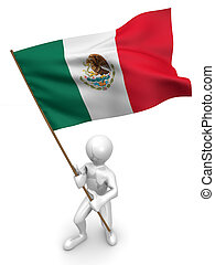 Men with flag. Mexico. 3d