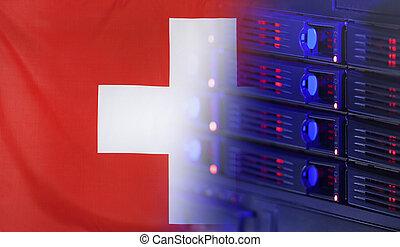 suiza, bandera, concepto, tecnología
